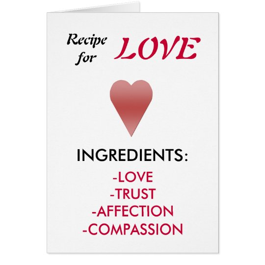 Recipe For Love Proposal Card