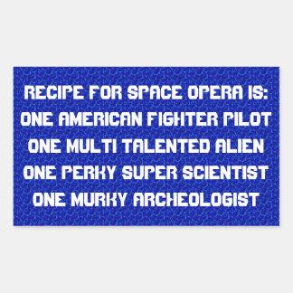 Recipe for space opera rectangular sticker