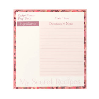 Recipe Notepad in Pink Stained Glass Pattern