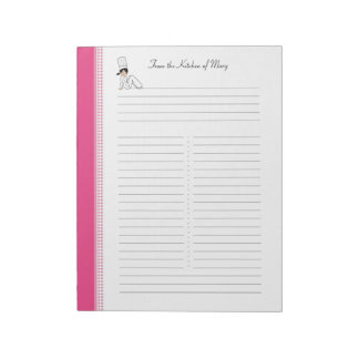Recipe Notepad with Kitchen Art for Binders