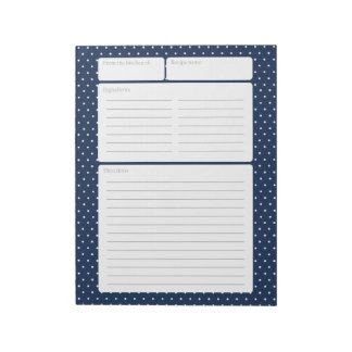 Recipe Page Blue and Polka Dots Note Pad