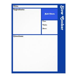 """Recipe Page (Dark Blue) 8.5"""" X 11"""" Flyer"""