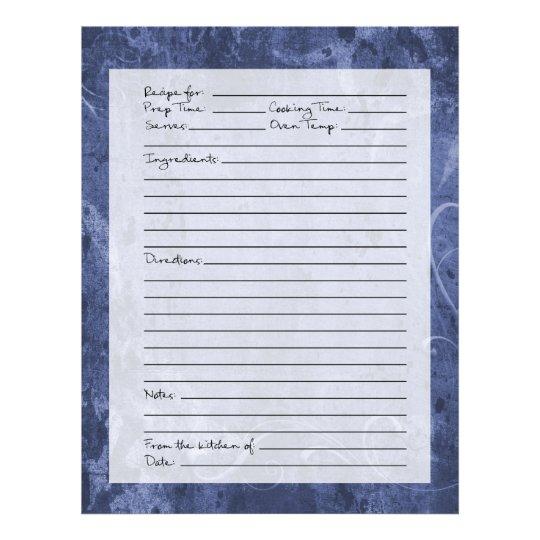 Recipe Page - Dark Blue Pattern