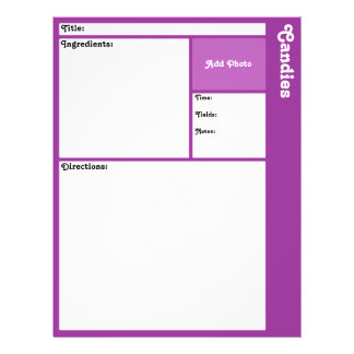 "Recipe Page (Dark Purple) 8.5"" X 11"" Flyer"