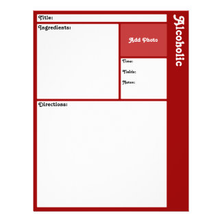 """Recipe Page (Dark Red) 8.5"""" X 11"""" Flyer"""
