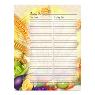 Recipe Page for Fruits & Veges Recipe Binder - 1