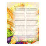 Recipe Page for Fruits & Veges Recipe Binder - 1 Letterhead Design
