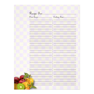 Recipe Page for Fruits & Veges Recipe Binder - 2C Personalized Letterhead
