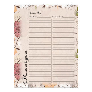 Recipe Page for Pink Rose Recipe Binder - 1 Letterhead