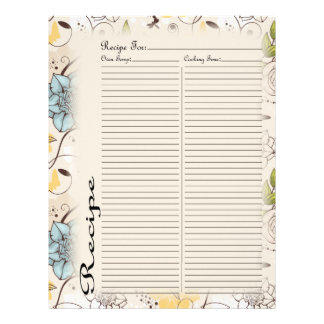 Recipe Page for Pink Rose Recipe Binder - 3 Letterhead