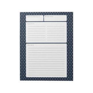 Recipe Page Navy Blue and Polka Dots Note Pad