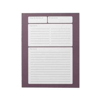 Recipe Page Plum with Color Option Notepad