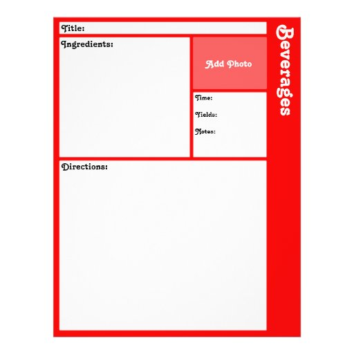 """Recipe Page (Red) 8.5"""" X 11"""" Flyer"""