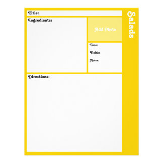 Recipe Page (Yellow) Personalized Flyer