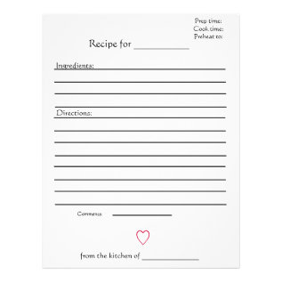 Recipe Pages For Combined Mothers Cookbooks at Zazzle