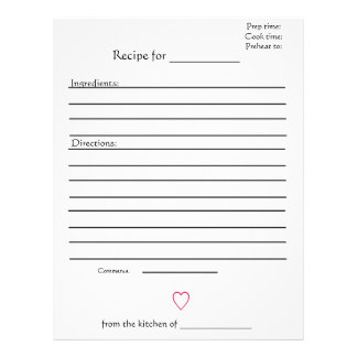 Recipe Pages for Combined Mothers Cookbooks Letterhead