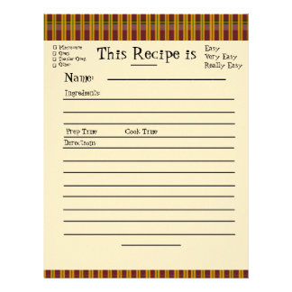 Recipe Pages for Plaid Binder
