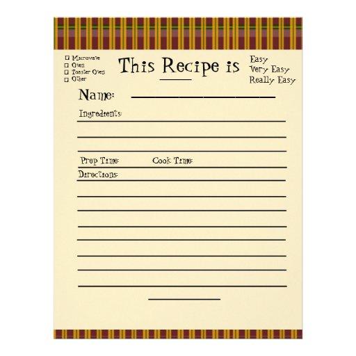 cute recipe card template word