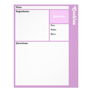 Recipe Pages (Light Purple) Flyer
