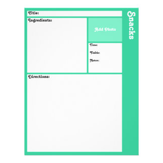 Recipe Pages (Light Teal)