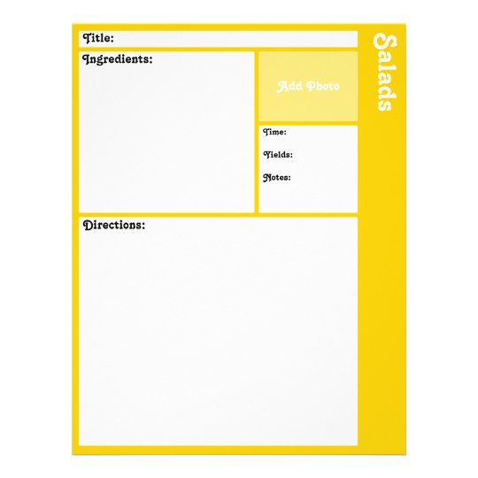 Recipe Pages (Yellow)