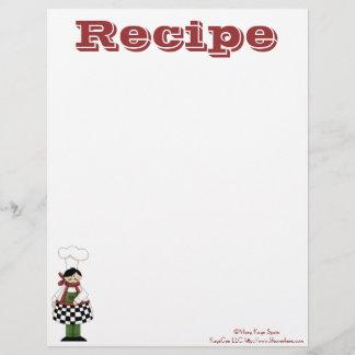 Recipe Paper- Kitchen Chef- Recipes