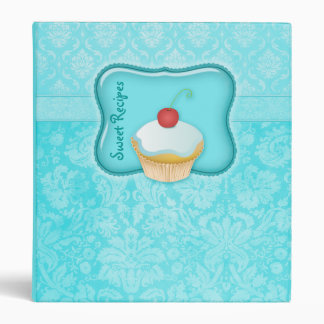 Recipe Photo Binder Turquoise Blue Cupcake