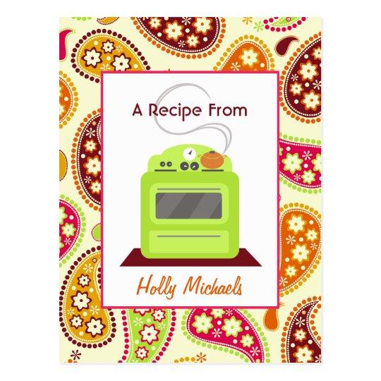 Recipe Postcard Bright Green Retro Stove, Paisley