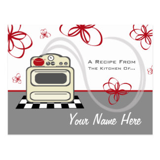 Recipe Postcard - Retro Stove Modern Red Kitchen