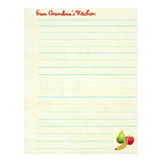 Recipe Sheet - Fruity Letterhead