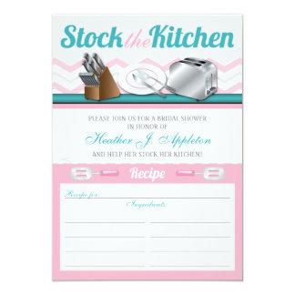 """Recipe Stock the Kitchen Bridal Shower Invitations 5"""" X 7"""" Invitation Card"""