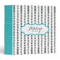 Recipe Stripes Polka Dots Pattern Name Monogram Binder