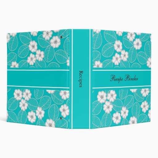 Recipe Teal Blue Aqua White Damask DECOR SETS 3 Ring Binders from