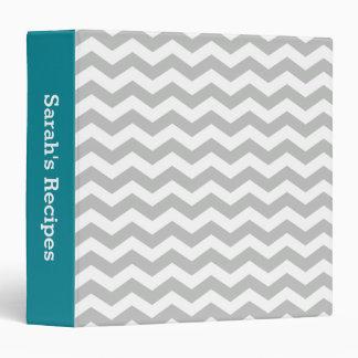 Recipe Teal Gray Chevron Stripes Pattern Binder