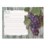 Recipe to Share Bridal Shower Wine Vineyard Grapes Postcard