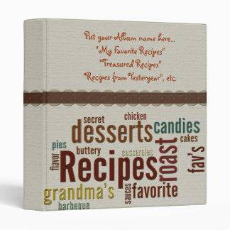 Recipes Album 3 Ring Binder