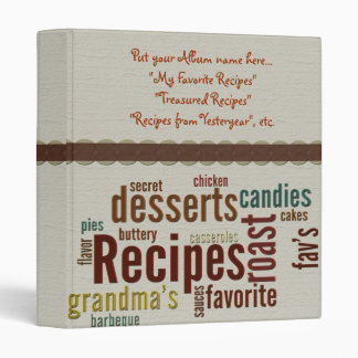 Recipes Album Vinyl Binder