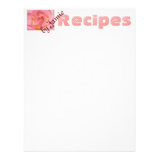RECIPES by You paper Pink Rose Flower Your Recipes Letterhead