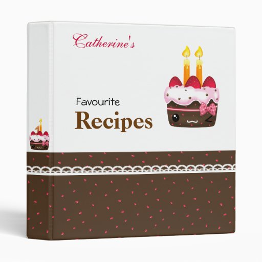 Recipes - Cute chocolate with strawberries cakes 3 Ring Binder
