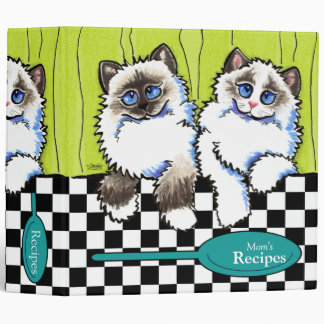 Recipes Cute Ragdoll Cats Off-Leash Art™ Cooking 3 Ring Binder