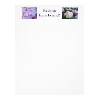 Recipes for a Friend! Letterhead Purple Hydrangeas