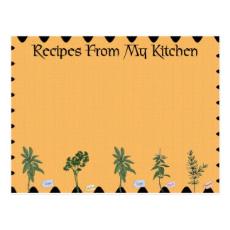 Recipes From My Kitchen Postcard