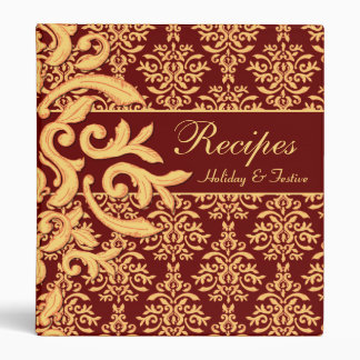 Recipes Holidays Special Occasions Gilded Damask 3 Ring Binder