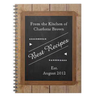 Recipes Notebook with your Name on the Chalkboard