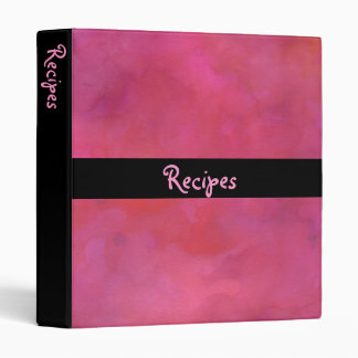 Recipes on a Pink Moody Watercolor Texture 3 Ring Binder