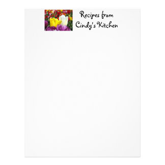 Recipes paper From Your Kitchen Tulip Flowers Letterhead