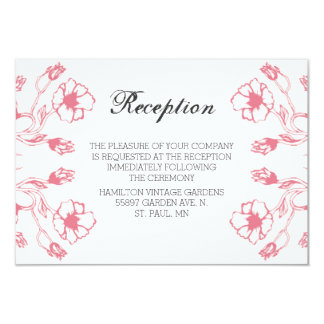 Reciption Pink Garden Wedding Card