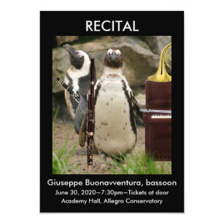 Recital Announcement, Penguins, Woodwinds, Piano Magnetic Card