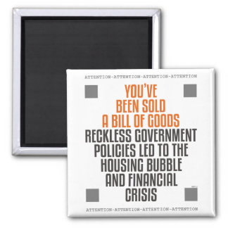 Reckless Government Policies 2 Inch Square Magnet