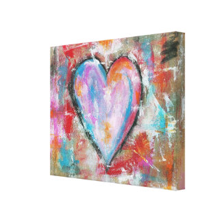 Reckless Heart Abstract Art Painting Pink Red Blue Canvas Print